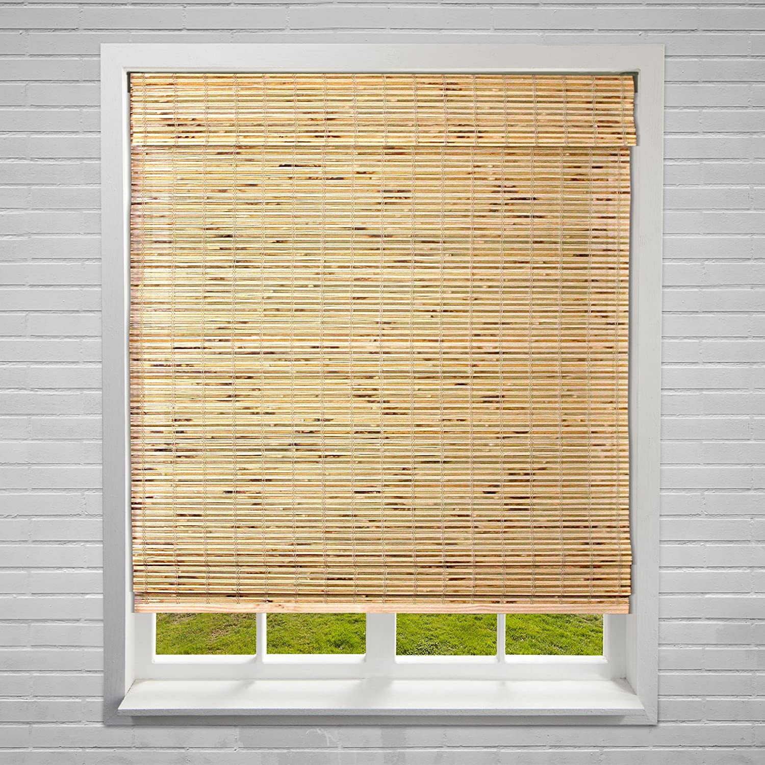 Calyx Interiors A04CBK344600 Cordless Bamboo Blind, 34.5  W X 60  H, Petite Rustic