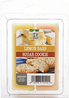 Hosley Dual Pack Lemon Bars and Sugar Cookie Wax Cubes 2.5 Ounces Hand Poured Wax Infused with Essential Oils Ideal for Weddings Spa Reiki Meditation Settings W1