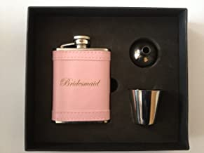 Wedding Gift Pink Stainless Steel 3oz Hip Flask Tot cup & Funnel in Gift Box FL31 (Maid of Honour)