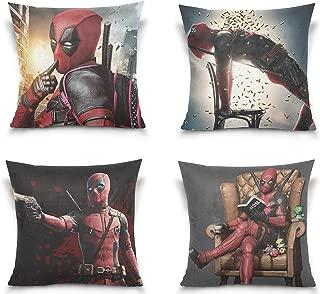 GodVshop Deadpool Throw Pillow Covers Soft Plush Set of 4 Decorative Square Pillowcase Cushion Cover for Sofa Bedroom Car (18