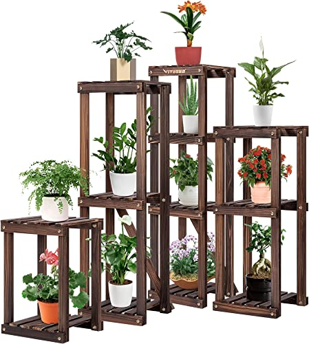 "lowest VIVOSUN Plant Stand for new arrival Indoor Plants 4 Set Wood Plant Shelf 16""/27""/35""/38"" Combination Flower Rack online Multiple Flower Pot Holder outlet sale"