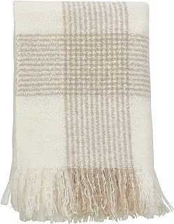 SARO LIFESTYLE Faux Mohair Plaid Design Tassel Throw Blanket, 50