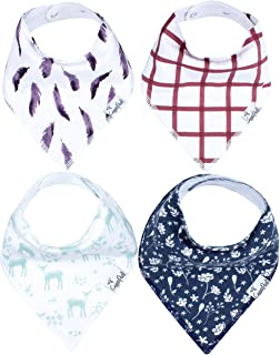 """Baby Bandana Drool Bibs for Drooling and Teething 4 Pack Gift Set For Girls """"Fawn Set"""" by Copper Pearl"""