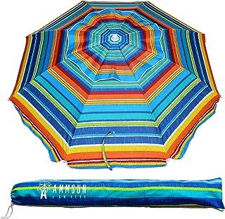 AMMSUN 2Mアウトドア 日差し避けビーチパラソル キャンプテンスタッグ 海用傘 UVカット防風性と防水性