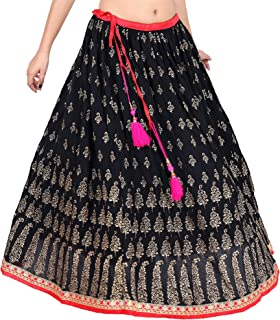 Indian Handwork Hippy Bohemian Long Skirt,Gaurangi Women's Embroidered,Gold Hand Block Print ,Mirror Work,Black,Party Wear Designer Lehanga