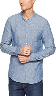 French Connection Men's Grandpa Collar Linen Long Sleeve Classic FIT Shirt, Chambray