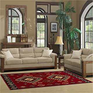 Superior Santa Fe Collection 5' x 8' Area Rug, Attractive Rug with Jute Backing, Durable and Beautiful Woven Structure, Bright and Bold Southwest Style - Red