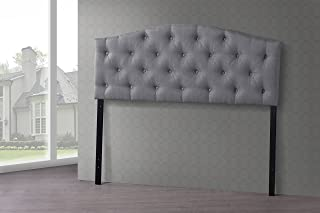 Baxton Studio Wholesale Interiors Myra Modern and Contemporary Fabric Upholstered Button-Tufted Scalloped Headboard, Queen, Grey