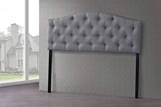 Baxton Studio Wholesale Interiors Myra Modern and Contemporary Fabric Upholstered Button-Tufted Scalloped Headboard, Full, Grey