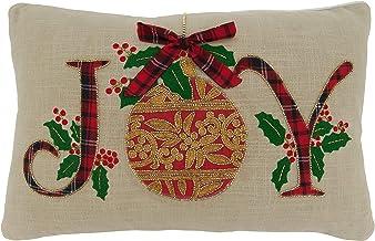 """Saro Lifestyle Ariadne Collection Joy Design Pillow Cover, 14"""" x 22"""", Natural"""