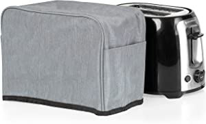 Crutello 2 Slice Toaster Cover with Storage Pockets Compatible with Amazon Basics, Cuisinart CPT-160BKS Toasters - Small Appliance Dust Cover Measuring 11