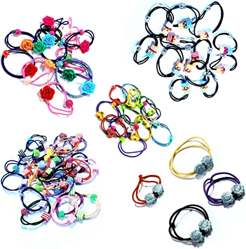 Health Line Pack of 10 multi design rubber bands for girls multicolor