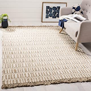 "Safavieh Natural Fiber Collection NF184A Handmade Boho Farmhouse Fringe Jute Accent Rug, 2'3"" x 4', Ivory"