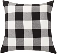 "SARO LIFESTYLE Birmingham Collection Buffalo Plaid Floor Pillow Cover, 28""C, Black"