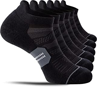 CelerSport 6 Pack Men's Running Ankle Socks with Cushion, Low Cut Athletic Tab Socks
