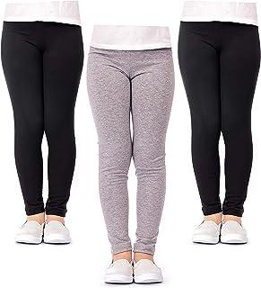DEAR SPARKLE Girls' Leggings 3 Pack Girl Stretch Kids Toddler Pants + Hair Ties (G1)