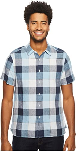 Perry Ellis - Short Sleeve Buffalo Plaid Linen Shirt