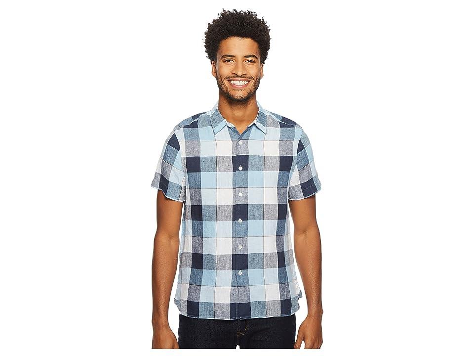 Perry Ellis Short Sleeve Buffalo Plaid Linen Shirt (Ink) Men