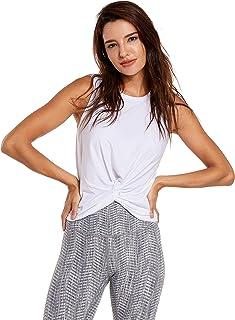 CRZ YOGA Women's Pima Cotton High Neck Crop Tops Workout Casual Tank Tops Sleeveless Yoga Shirts