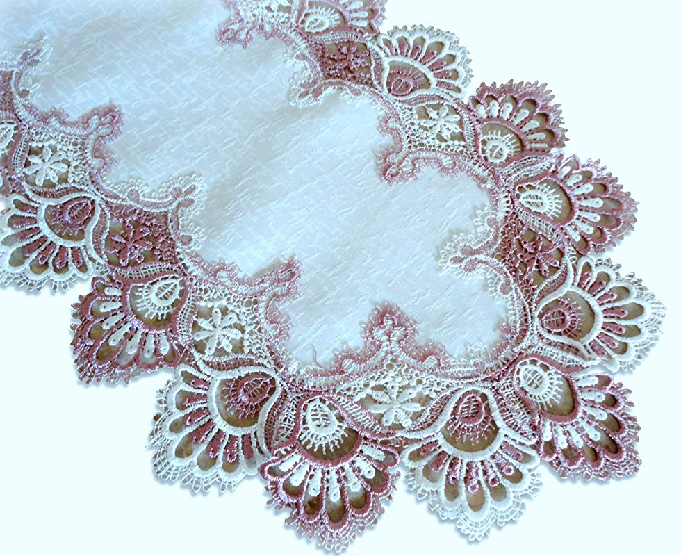 Galleria Di Giovanni Mauve Rose Lace Doily Dresser Scarf Table Runner Pink 27