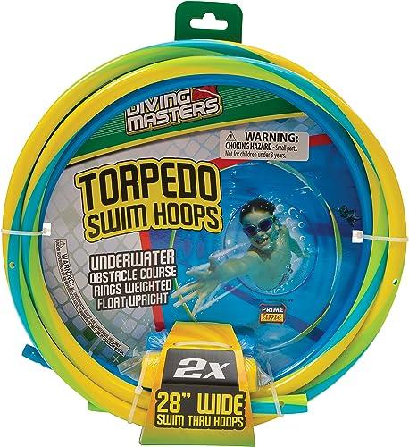 Diving Masters Torpedo Swim Hoops, Set of 2, 28 grand Swim Thru Hoops