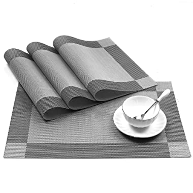 U'Artlines 18 x12  PVC Placemats for Dining Table Stain-Resistant Woven Vinyl Kitchen Placemat for Thanks Giving Holiday Vinyl Placemats Set of 4 (Silver-Gray)