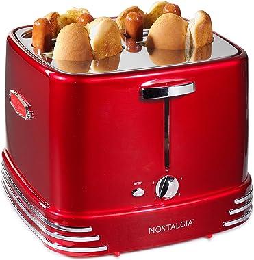 Nostalgia RHDT800RETRORED Four Dogs & Buns Pop-Up Toaster, 4-Hot Dogs, Retro Red
