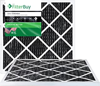 FilterBuy Allergen Odor Eliminator 20x22x1 MERV 8 Pleated AC Furnace Air Filter with Activated Carbon - Pack of 2-20x22x1