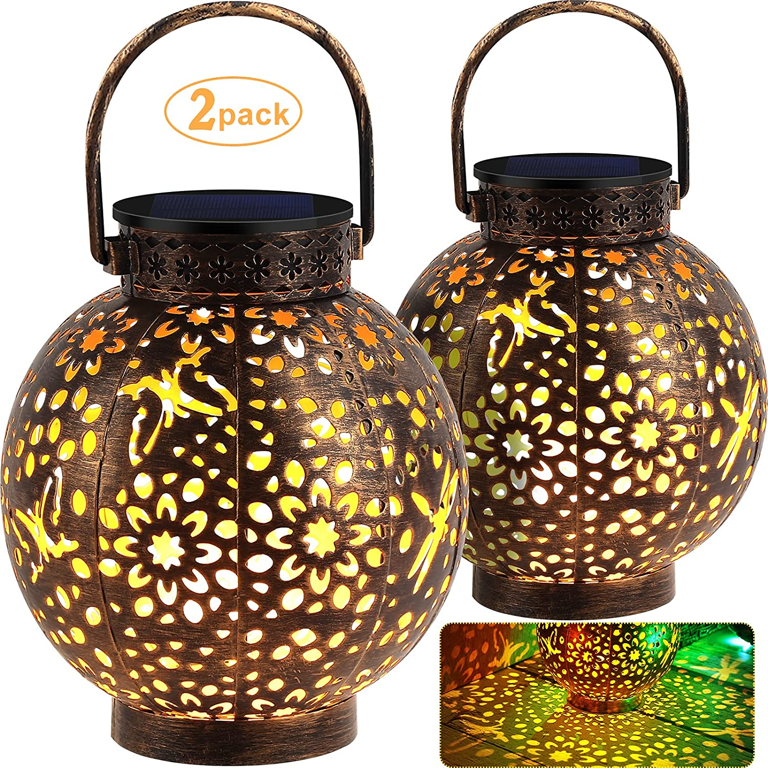 Max 86% OFF URPOWER Solar Lights Metal Lantern Hanging S Outdoor Inventory cleanup selling sale Retro