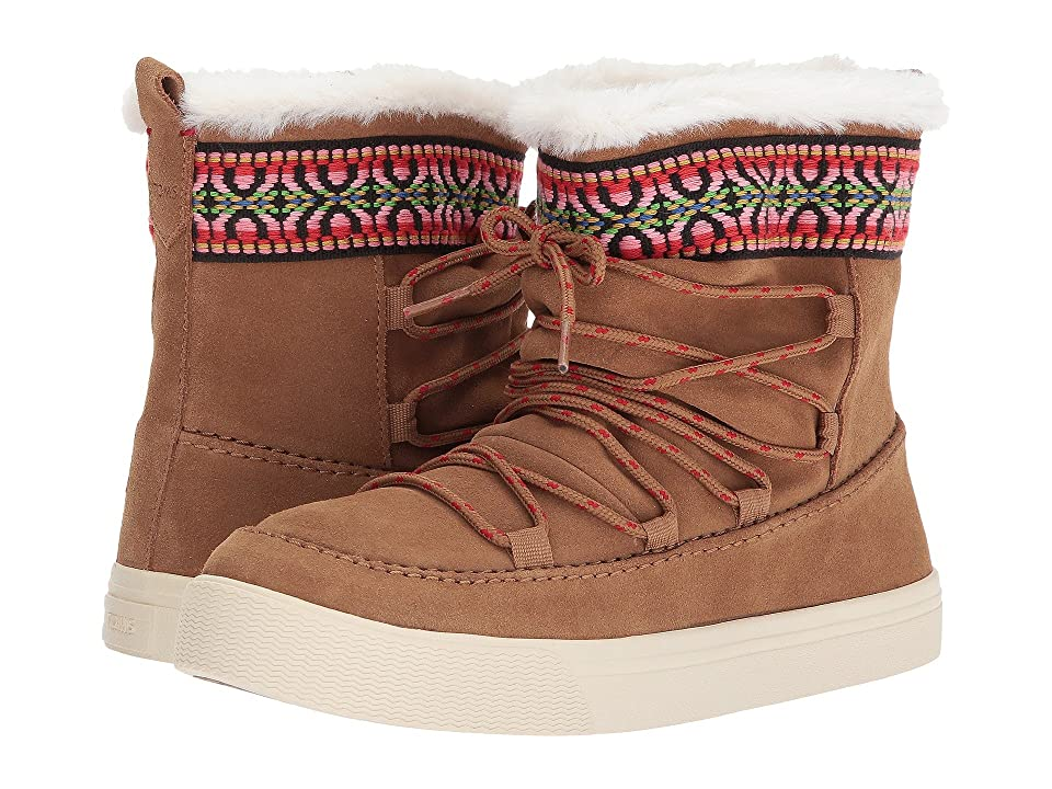 TOMS Alpine Water-Resistant Boot (Toffee Waterproof Suede/Tribal Webbing) Women