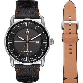 Amazon Com One Eleven Men S Sw1 Solar Quartz Stainless Steel And Nylon Casul Watch Color Silver Tone Black Model Cboe5000 Watches