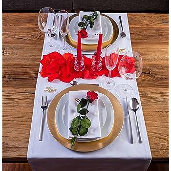 LOVERSpack Romantic Pack Hathor Blanco/Dorado - con Este Pack romántico podrás Decorar tu Mesa y sorprender a tu Pareja con una Cena romántica en casa o en un Hotel. ¡Regala Momentos Especiales!: