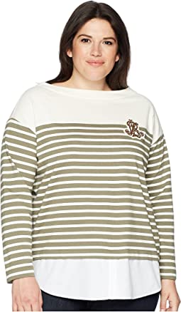 Plus Size Striped Layered Cotton Sweater
