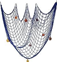 Red de Pesca Marco de la Foto Decorativos de Pared Estilo mediterráneo para el Hogar, Fiesta, Baby Shower, Decoración Fotográfica, 200 x 100 cm Azul (con Uñas)