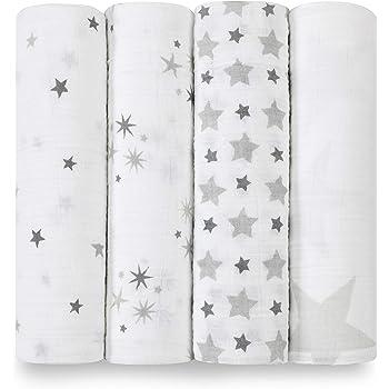 Aden + anais maxi-langes, 100% mousseline de coton, 120cm x 120cm, pack de 4, Twinkle