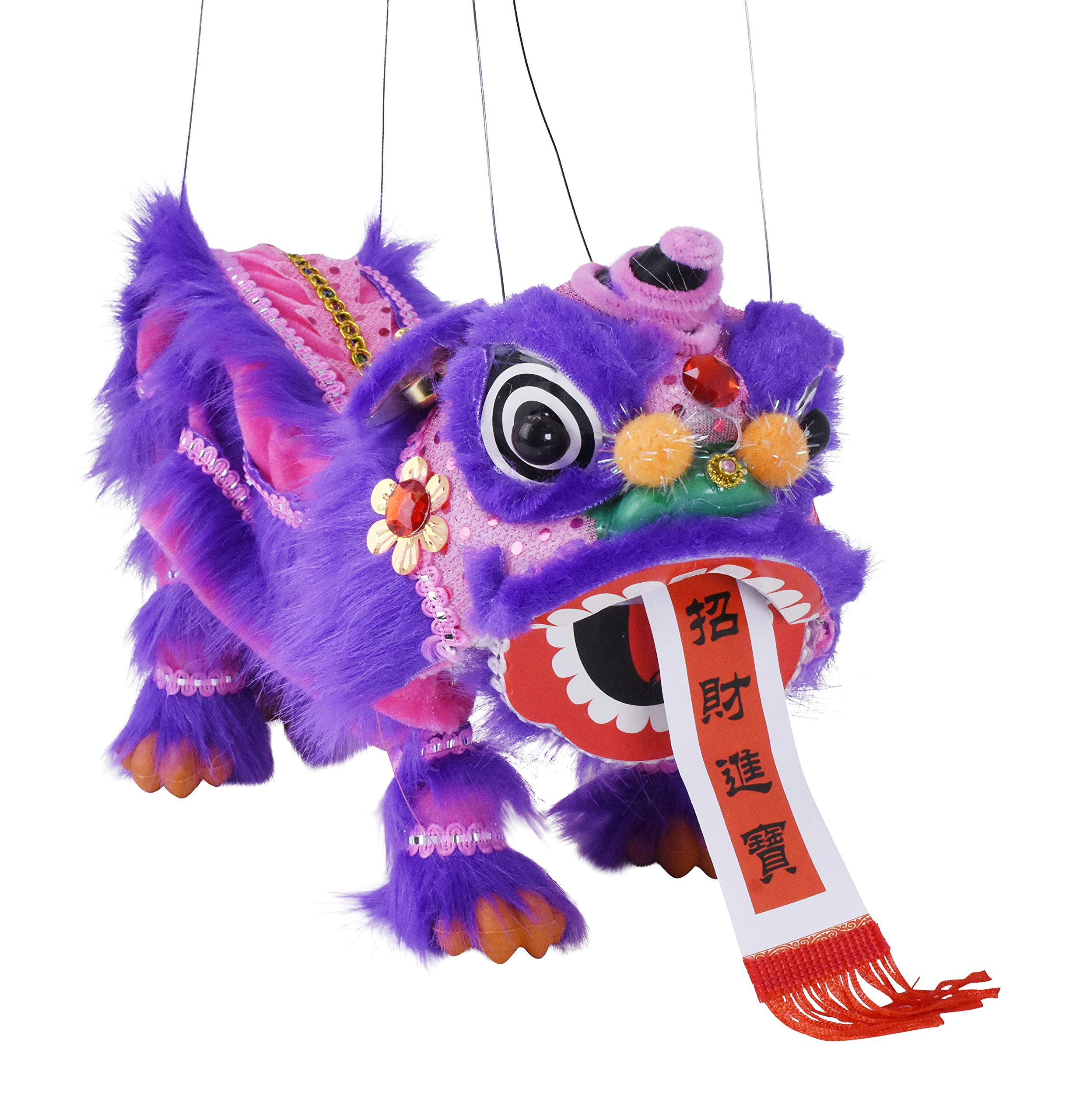 Chinese Marionette Lion Toy Black Mandala Crafts Hand String Puppet with Rod