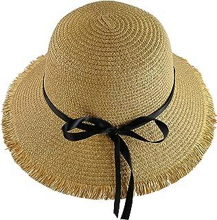Wasolola Straw Hat Wide Brim High Wall Unique Edge Design Foldable Chin Strap Bowknot Decoration Sun Beach Hat