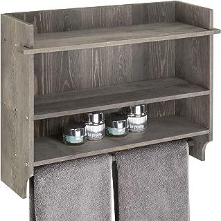 MyGift Wall-Mounted Gray Wood 3-Tier Bathroom Organizer Shelf with Towel Bar