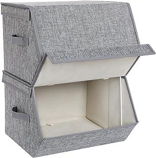 SONGMICS RLB02GY Lot de 2 boîtes de rangement empilables avec couvercle à charnière magnétique en tissu, cadre en métal et...
