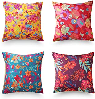 decoJungle Tropical Throw Pillow Covers 18x18 - Decorative Pillow Covers, Set of 4