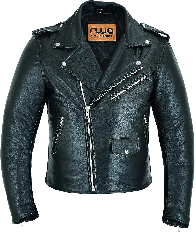 Ruja Men's Classic Cowhide Genuine Leather Motorcycle Biker Perfecto Jacket