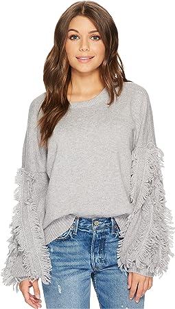 1.STATE - Crew Neck Fringe Sleeve Sweater