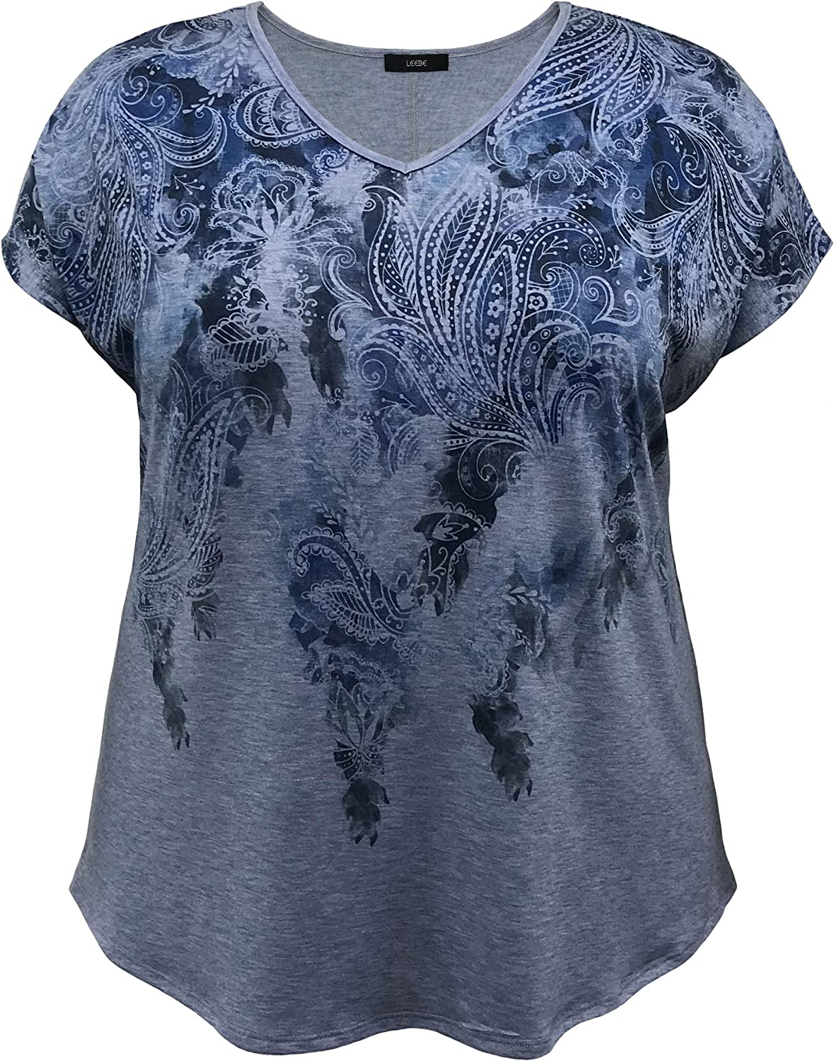 LEEBE Women and Plus Size V-Neck Dolman Short Sleeve Print Top A (Small-5X)
