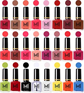 MI Fashion High Gloss Nail Polish Paint Combo 24 Pcs - Magenta,Dark Nude,Peach,Neon Pink,Pale Violet,Red,Mauve Brown,Olive...