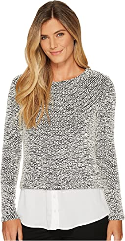Calvin Klein - Long Sleeve Nubby Knit Twofer