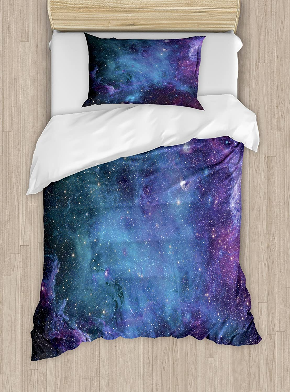 Ambesonne Outer Space Duvet Cover Set Twin Size, Galaxy Stars in Space Celestial Astronomic Planets of The Universe Milky Way Theme, A Decorative 2 Piece Bedding Set with 1 Pillow Sham, Navy Purple