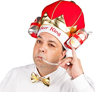 BigMouth Inc King of Beers Drinking Hat, Party Hat Holds 2 Beers, Sodas and More, Built-in Straw