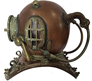 Antique Maritime Brass Deep Diving Helmet Mark V US Navy Nautical Collectible Gift 18