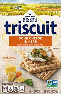 Triscuit Four Cheese and Herb Crackers, Non-GMO, 8.5 Ounce (Pack of 6)
