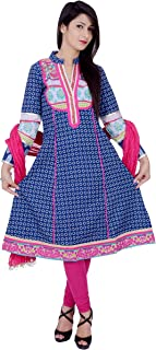 Rama Women's Cotton Printed Blue Anarkali Kurta and Legging & Dupatta Set